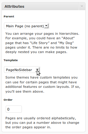Page Template  Attributes